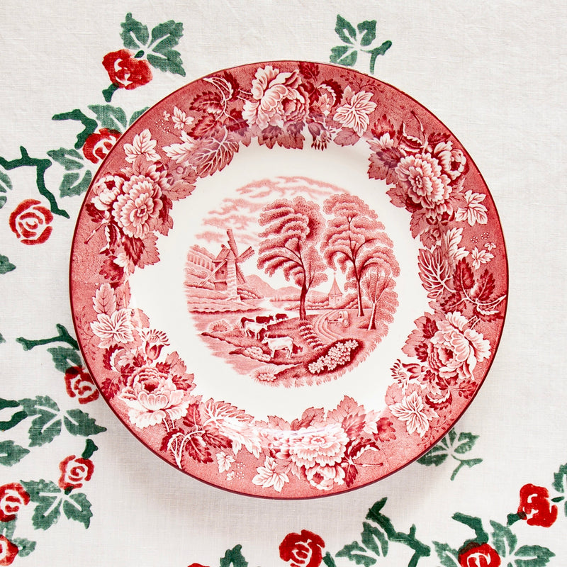 Pair of Vintage English Scenery Soup Plates