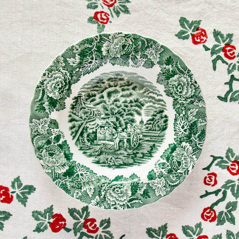 Set of 4, Green English Scenery Soup Plates