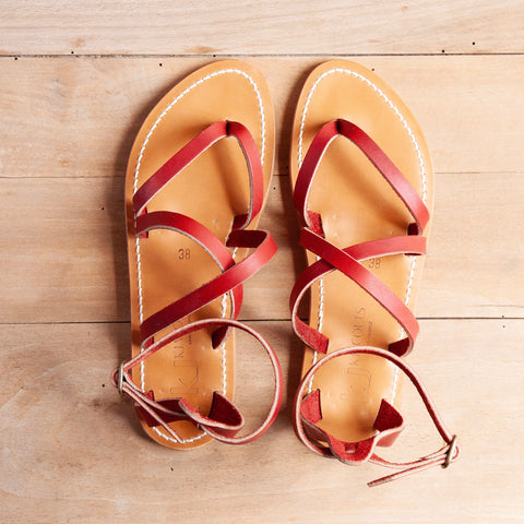 Epicure Sandal, Leather, Red