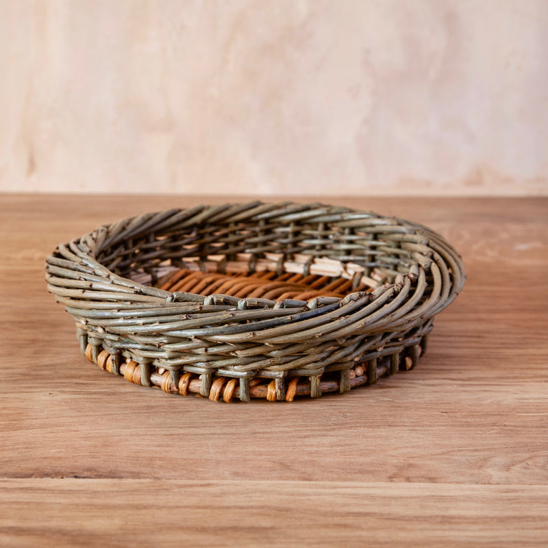 Round Hand Woven English Willow Basket, Small