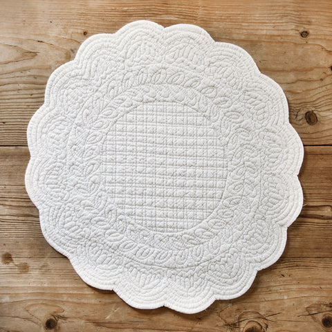 Embroidered Cotton Round Placemat  (Ivory)
