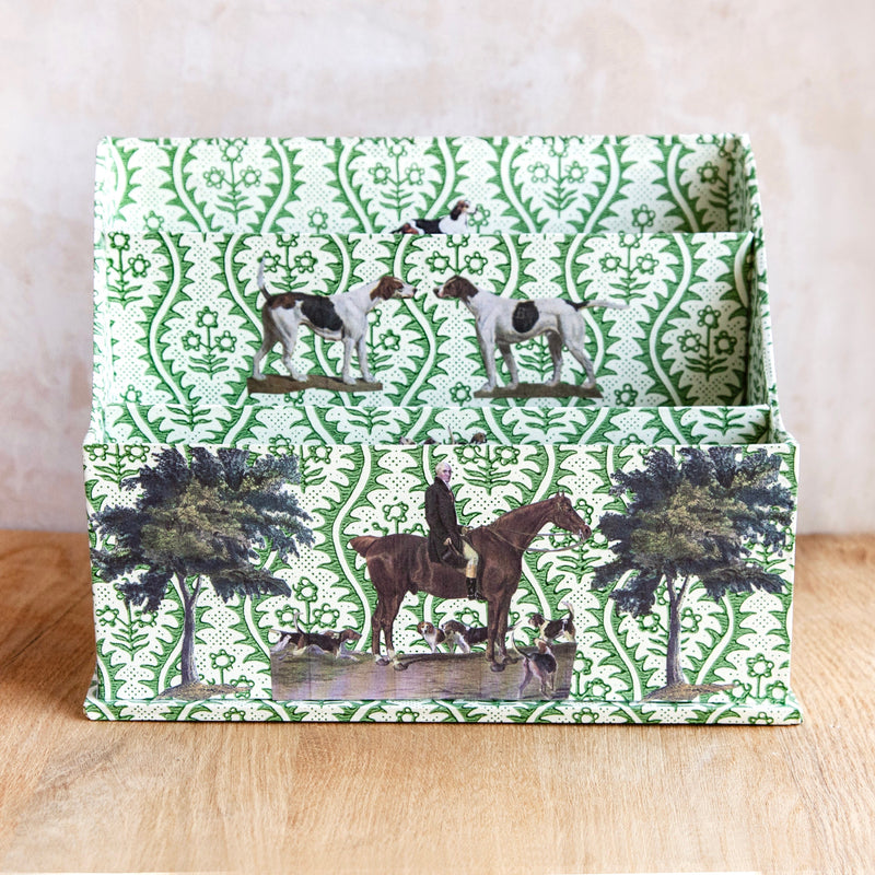 "Three Compartment Letter Holder, ""Horse and Hound"""