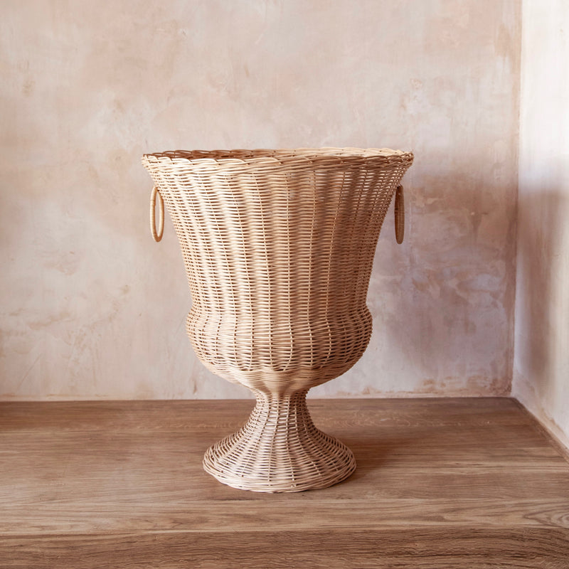 Medici Wicker Pedestal and Vase
