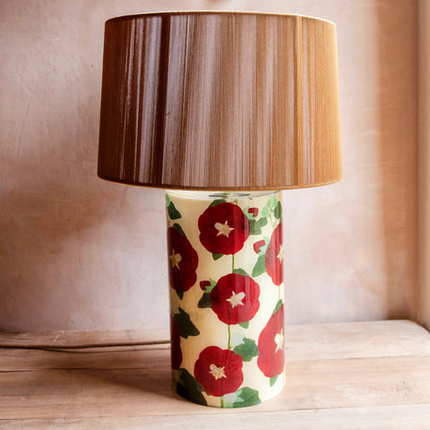 Hollyhock Cylinder Lamp with Silk String Shade