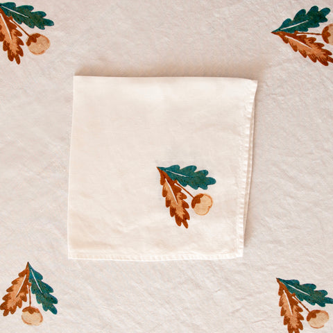 Quercina Linen Napkin, Oak Leaf and Acorn