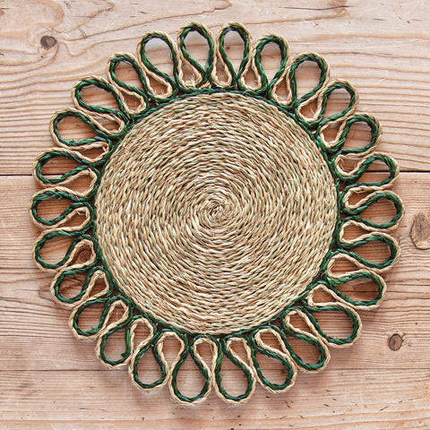 Looped Sisal Placemats (Army Green)