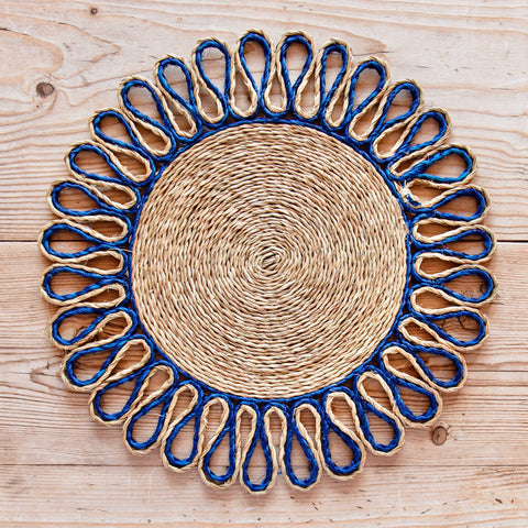Looped Sisal Placemats (Bright Blue)