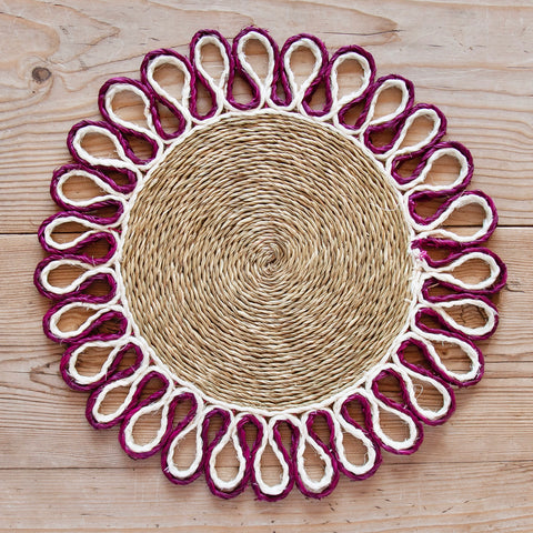 Looped Sisal Placemats, Fushsia/White