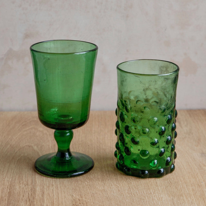 Mouthblown Syrian Bubble Tumblers, Recycled Glass (Green)