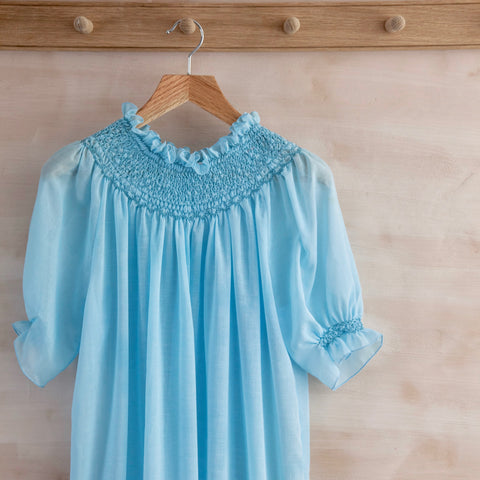 Hand-Smocked Night Gown, Short Sleeve (Aqua)
