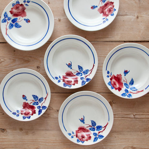 "Set of 6 Vintage French Luneville ""Chantal"" Painted Hollow Plates"