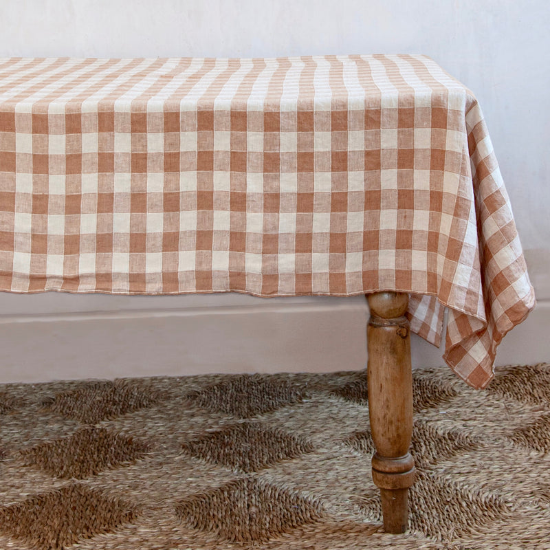 Vintage Checkerboard Tablecloth, Terracotta