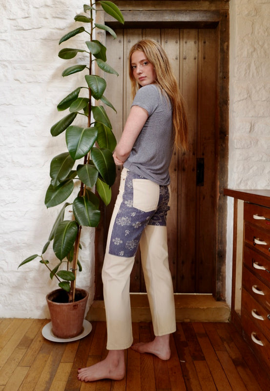 Clair High Straight Jeans, Printed Back Patches