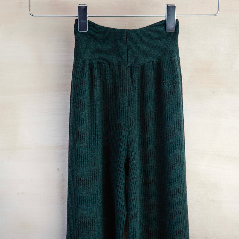 Ribbed Yoga Pant, Cotton & Cashmere (Hunter Green)
