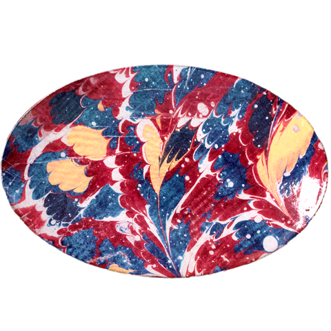 Blue and Red Marble Oval Platter