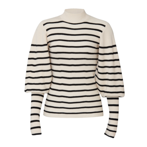 Joanne Sweater, Merino Wool (Cream & Black Stripe)