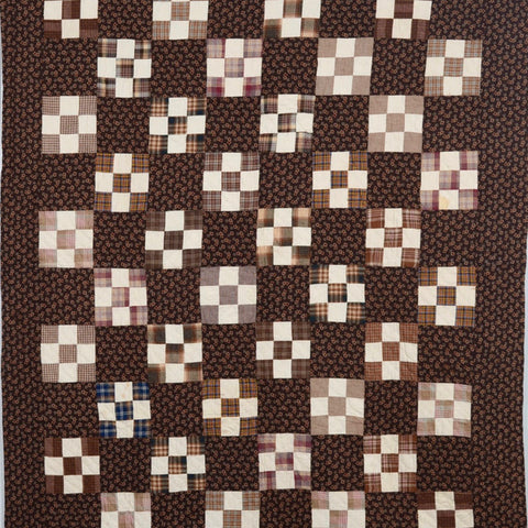 Brown Calico Nine Patch Quilt, Pennsylvania, c. 1880