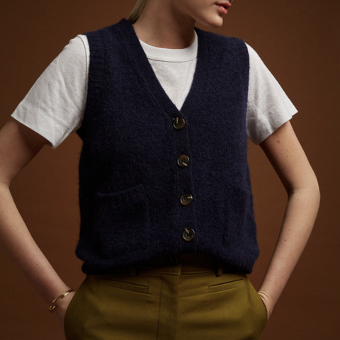 Fluo Sleeveless Cardigan (Navy)
