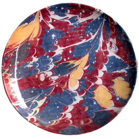 Blue and Red Marble Dessert Plate