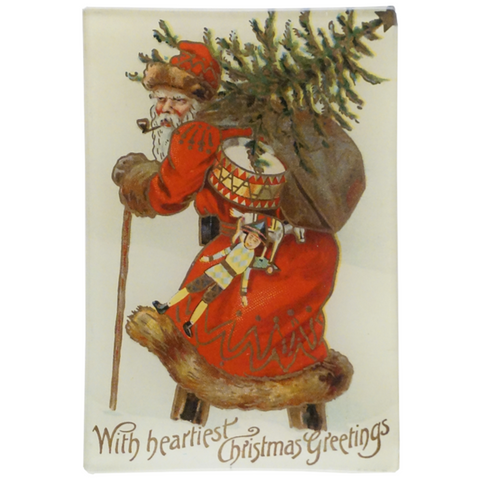 "Santa with Tree (With Heartiest Christmas Greetings), 4.5 x 6.5"" Mini-Tray"