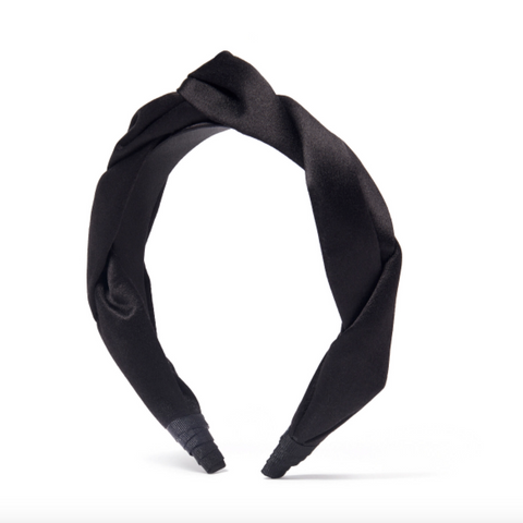 Braided Headband, Noir Satin