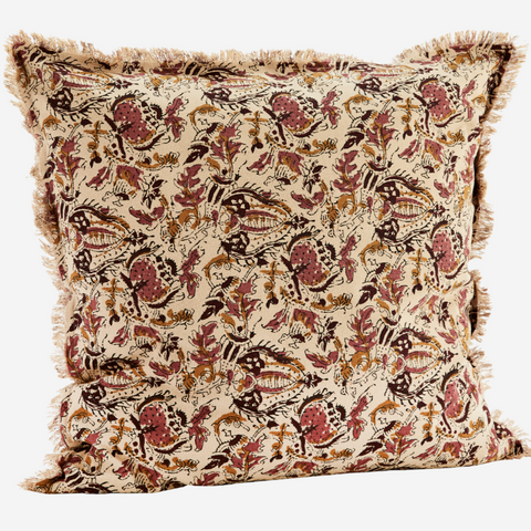 Printed Cushion Cover with Fringe