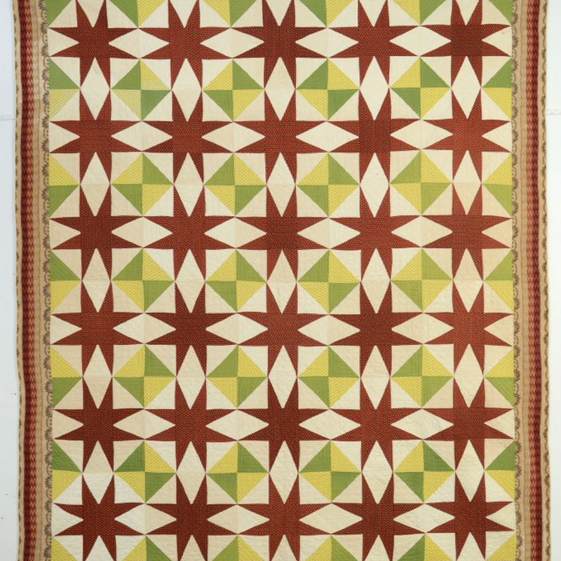 Elongated Stars Quilt: Circa 1870; Maryland