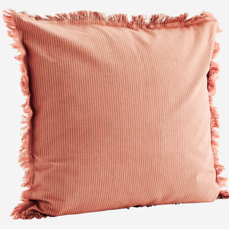 Striped Cushion Cover with Fringe