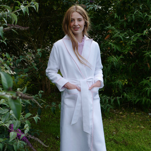 "Italian Linen ""Boyfriend"" Robe with Terry Cloth Lining (Pink Piping)"