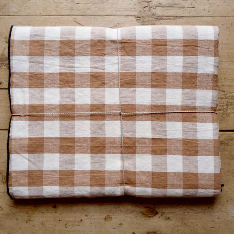 Checkerboard Tablecloth, Terracota, Linen & Cotton
