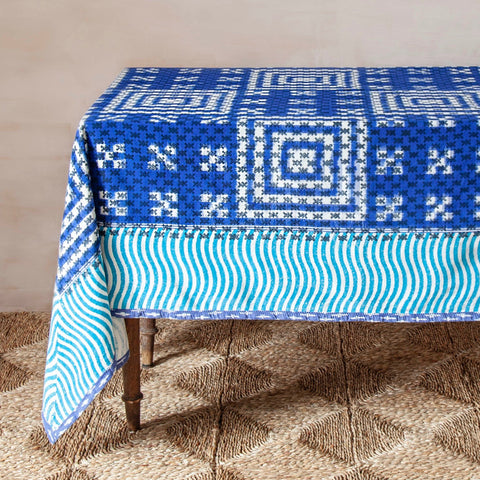 Reverse Block-printed Ikat Tablecloth (Indigo/Turquoise)