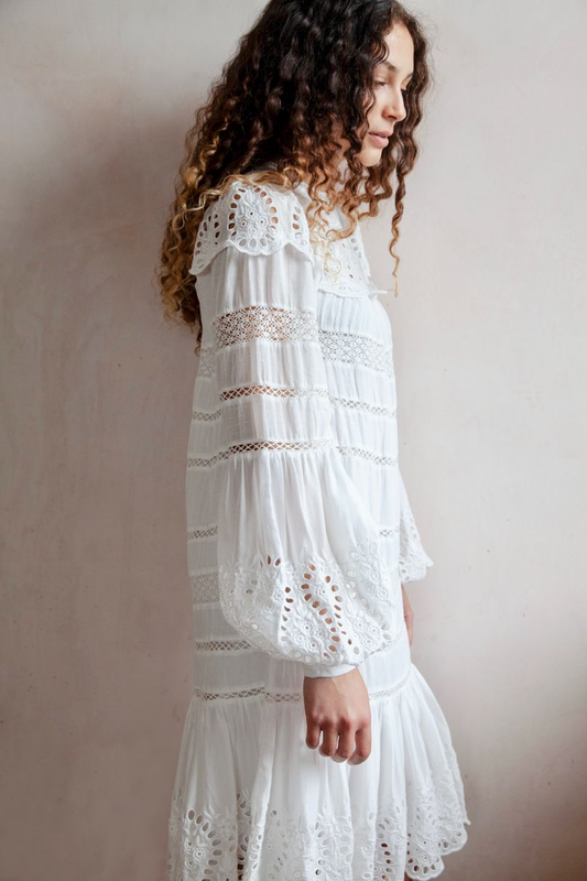 Marina Long Sleeve Lace Dress, White