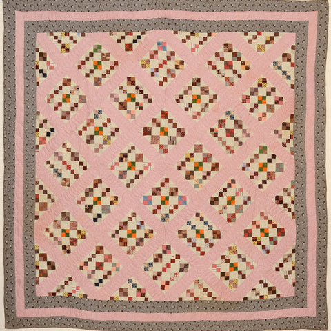 Four Patch in Diamonds Quilt, c. 1870, Pennsylvania