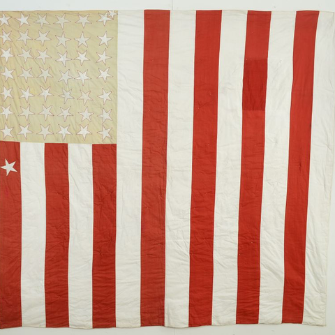 Reversible Flag/Streak of Lightning Quilt,  C. 1890's