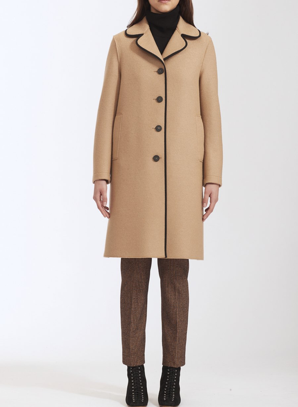 Contrast Piped Wool Coat