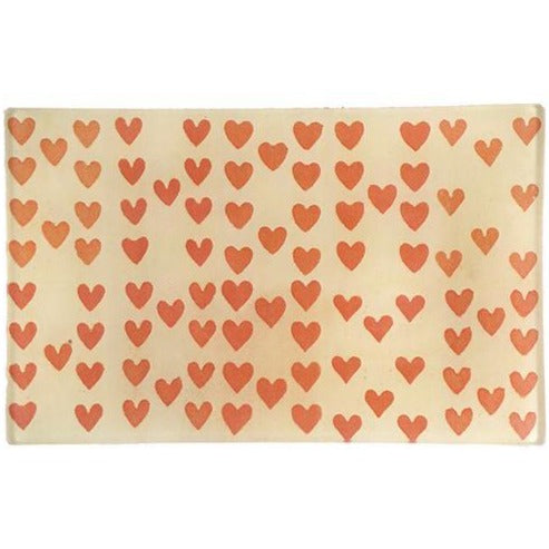"Heart Rows 5 x 8"" Rectangular Tray"