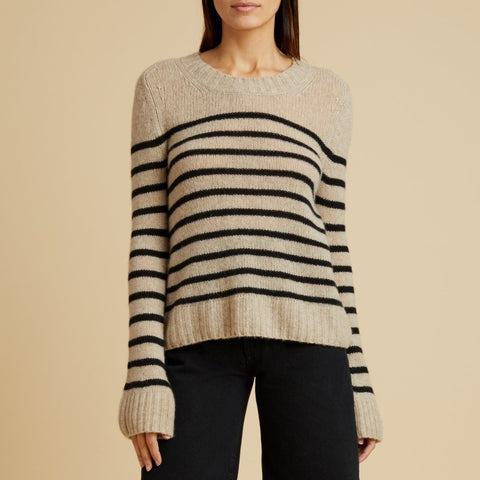 Tilda Sweater, Powder and Black Stripe