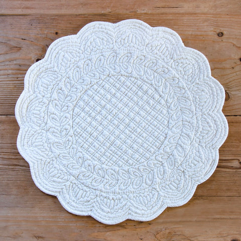 Embroidered Cotton Round Placemat  (White)