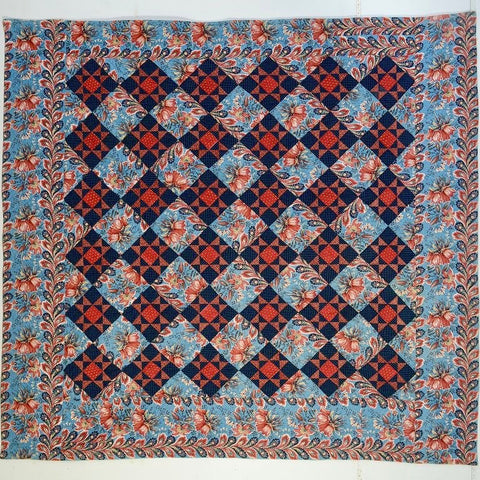 Reversible Chintz Variable Stars Quilt: Circa 1840; Pennsylvania