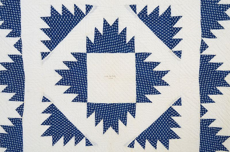 """Delectable Mountains"" Quilt, Signed and Dated 1848"