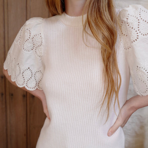 Nadene Lace Combo Sweater, White