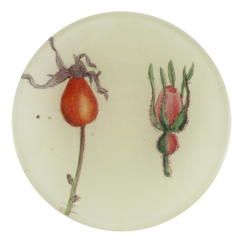 "Rose Bud and Hips - 4"" Round Plate"