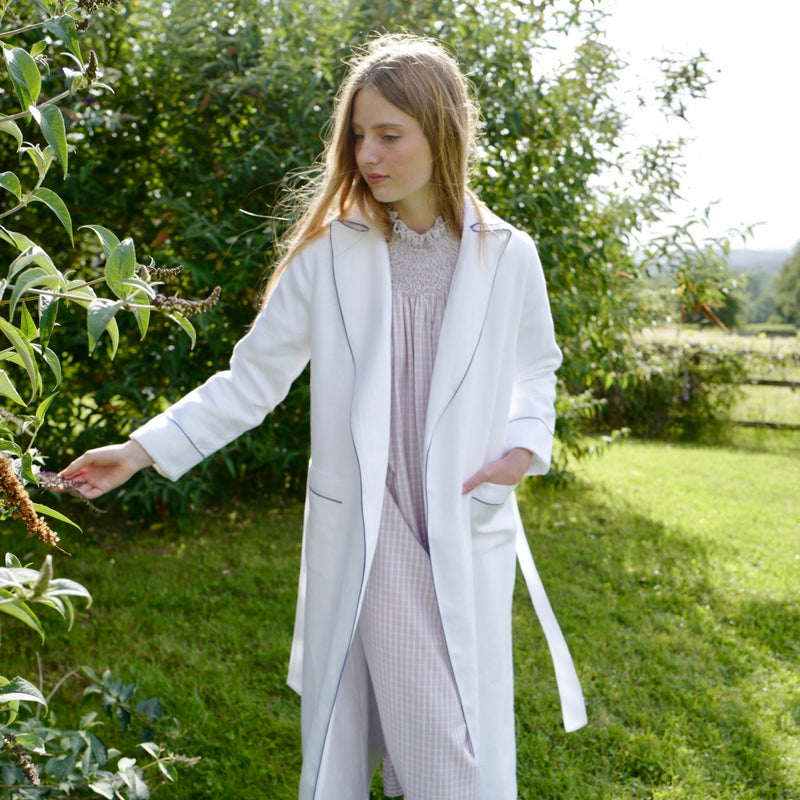 "Italian Linen ""Boyfriend"" Robe with Terry Cloth Lining, blue piping"
