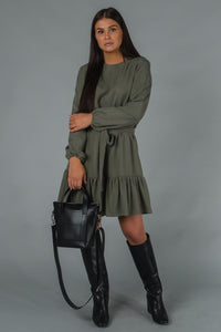 "Gauhar Frill dress sage green I INCH"" Tampere"