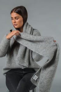 Gauhar Mohair scarf - feather grey