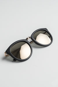 Le Specs No Smirking matte black - gold mirror - aurinkolasit