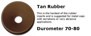 Tan rubber insert for use with capping equipment