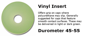 Vinyl insert for use with capping equipment