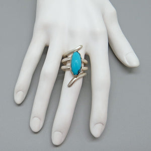 handmade in Arizona sterling gemstone ring. turquoise gemstone jewelry. handmade artisan ring