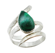 Load image into Gallery viewer, Sterling and Malachite Ring. Sacred Spiral Collection. Size 8